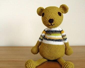 Teddy Bear, Handmade Teddy Bear, Unisex Baby Gift, Baby Shower Gift, Unisex Newborn Gift, Knitted Bear, Toddler Gift, Unisex Baby