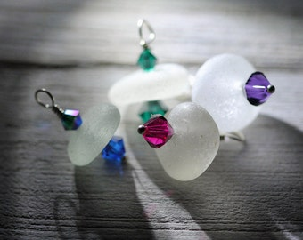 Bulk sea glass - Sea glass jewelry - Sea glass crafts - Genuine Sea glass beach glass charms - Sea glass with crystals - Sterling silver