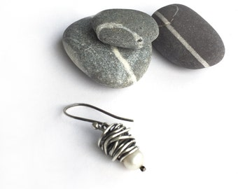 Reserved for Fiona - Sterling Silver Wire Wrapped Freshwater Pearl Single Earring