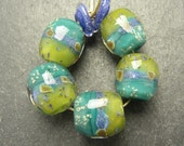 CrazyCatGlass Lampwork Boro Glass Beads Handmade Zesty Lime Rounds