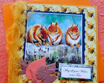 British Wildlife Squirrel Birthday Greetings Card - May all your wishes come true
