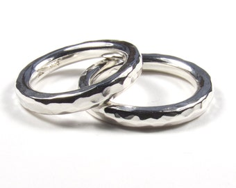 Matching Wedding Rings, His and Hers Rings, Hers and Hers Rings, His and His Rings, Rustic Rings, Hammered Rings, Slim Round Rings