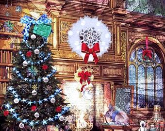 American Girl Dolls OOAK Teddy Bear Doll Artist Blue Christmas Background Scene #2 For doll house accessories furniture