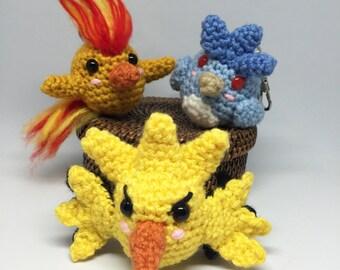 Amigurumi Phoenix Moltres Zapdos Articuno crochet bird plush keychain