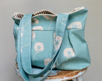 Robins Egg Blue Dandelion Shoulder Bag - Linen - 3 pockets - Key Fob - Zippered Top