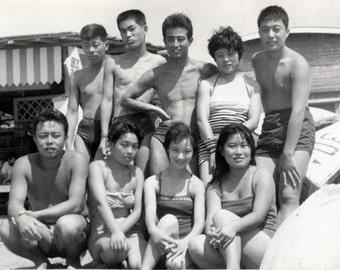 vintage photo 1960s Chinese Teenagers Bathing Suit Beach Girls Guys