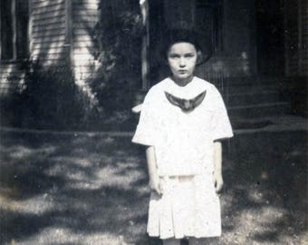 1923 Eerie Mystery Girl Deadpan Pose Sun Shadow House