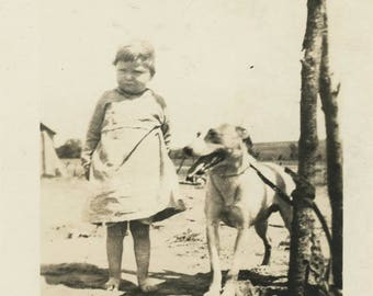 vintage photo 1918 Little Baby Girl Bad Haircut Stands w Dog
