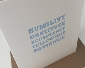 Humility Gratitude Acceptance Fellowship Patience Recovery Sober AA Anniversary Card