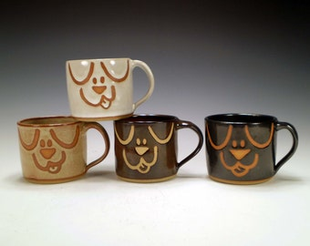 Dog Mugs, Handmade Stoneware Pottery