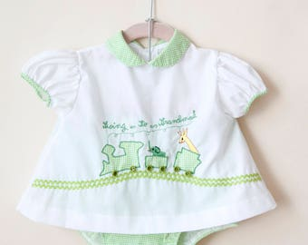 Vintage Baby Dress / Vintage Green Gingham Going to Grandma's Dress Set / 9-12 Months