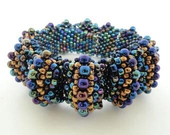 beaded cuff bracelet, statement jewelry, bead woven bracelet, iris blue and gold, seed bead jewelry, seed bead bracelet, bead woven cuff