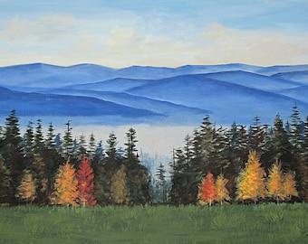 Blue Ridge Mountains, Autumn, Smoky Mountains, Original painting on canvas, Large, 24X36, Blue Ridge Landscape,