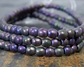 3mm Matte Purple Iris Czech Glass Druk Bead : 100 pc Purple 3mm Czech Glass Round Bead