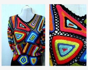 Fashion 90s Granny Square Crochet Sweater Color Block Pullover Sweater Sz.S