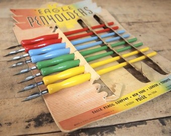Eagle Pen holders colorful display full of Fountain pens and nibs Vintage