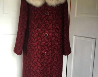 Ladies Plus Size Winter Coat with Fur Collar , Winter Wardrobe , Hunter's Fort Wayne, Indiana , Vintage