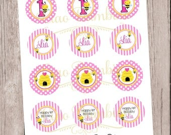 PRINTABLE Bumble Bee Cupcake Toppers / Print Your Own Personalized Cupcake Toppers at Home / Pink and Yellow Bee for BEEDay / You Print