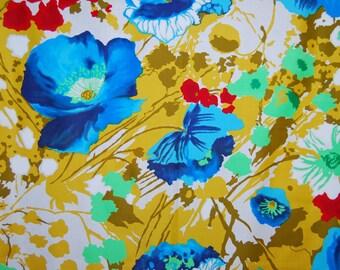 VINTAGE 60s 70s Hawaiian FABRIC floral THC Hawaiian Textiles fabric