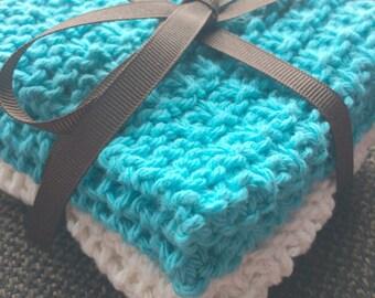 Gorgeous Set of 2 Hand Knit Wash Cloths/Spa Cloth/Facial Cloth/Dish Cloth
