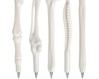 Bone Pens, Set of 5 Bone Pens, Office Supply Medical Student, Dr Nurse Gift Kawaii Pens, Anatomy Pens Anatomical Pens, Back to School