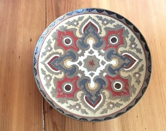 Enamelled Brass Tray, Wall Plate. Pedestal Base Brass Bowl. Decorative, Etched India Brass Dish. Colorful Mandala Round Wall Hanging.