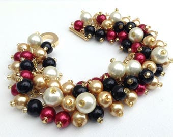 Black Bracelet with Ivory Gold and Red Pearls, Pearl Beaded Jewelry, Bridesmaids Jewelry, Winter Wedding Theme, Everyday Chunky Bead Jewelry