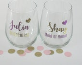Stemless Wine - Bridesmaid - Personalized bridesmaid glass - Stemless wine glass - Wedding gift - Engagement gift
