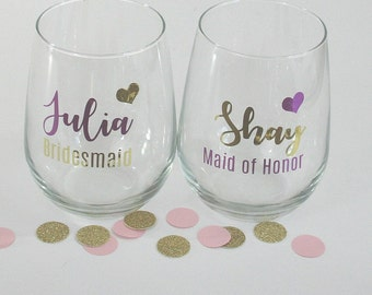 Maid of Honor Proposal Idea, Will You Be My Bridesmaid Wine Glass, Bridal Party Proposal, Wine Glass, Personalized Wine Glass