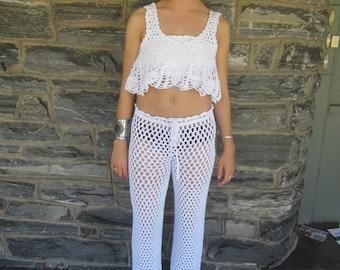 WHITE CROP TOP, festival clothing, crochet top, off shoulder top, beachcover up, off shoulder crochet top, gypsy offshoulder top