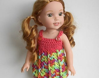 "14.5"" Doll Clothes Crocheted Peach and Multi Color Dress Handmade to fit the Wellie Wishers doll - Peach and Bright Color Tank Top Dress"