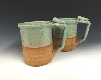 large turquoise mugs, handmade pottery, beer stein, ready to ship