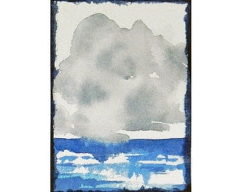 Stormy Weather Watercolor Mini, ACEO Original, Storm Clouds, Ocean, Cloud Art, Office Gift, Desk Art, Niche, Cloudy Sky Painting, Cumulus