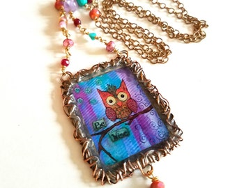 Be Wise Owl~Whimsical Moments Necklace