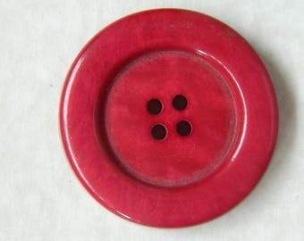 Large Vintage 1930's Red Plastic Button