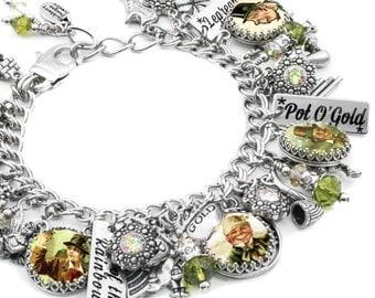Celtic Charm Bracelet, Irish Jewelry, King of the Leprechaun Jewelry, Scottish Charm Bracelet, Irish Bracelet