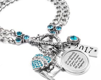 Personalized Engraved Graduation Bracelet with choice of birthstone, graduate's name, year of graduation, Daughter Graduation