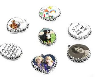 Personalized Picture Charm, Custom Photo Charm, Heart Photo, Oval Photo, Round Photo, Handwriting Charm