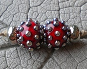 Gorgeous Red Encased Lampwork Beads by Cherie Sra R114 Encased Flamework Glass Bead Transparent Red Silver Glass Dots Silver Glass Spacers