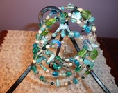 Memory Wire Bead Wrap Bracelet, Many Interesting Beads, Ocean Colors, Blue, Green, Glass Beads, Lampwork Beads, Turtle Charm, Dolphin Charm