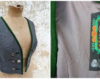Vintage 1970/70s German / Austrian/Tyrol grey wool dirndl corset bustier top size XS