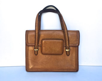 Stunning Vintage 70s Leather Boho Briefcase Tote