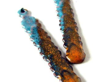 Orange and Blue Enamel Long Drop Beads/Charms