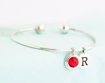 Graduation Gift - Sterling Silver Charm Bracelet - Birthstone Initial Bangle - Modern Bracelet - Simple Bracelet - Bangle Bracelet