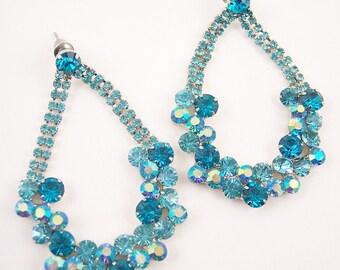 Long Turquoise Rhinestone  Pierced Earrings