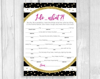 Help the Bride Write Her Vows Printable Bridal Shower, Bachelorette Game - Black and White Stripes - Hot Pink and Gold Glitter Polka Dots