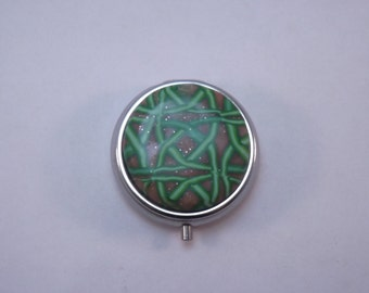 Pill Box,  Celtic Knot Polymer Clay Decorated Container