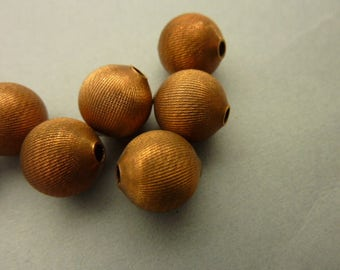 12 Brass Beads Etched Vintage 10mm