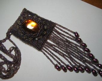 Hand Beaded Amulet Necklace, Wish Bag, Treasure Bag