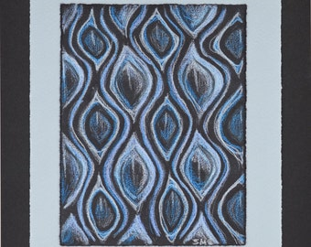 Colored Pencil Drawing - Texture Study - Illusion - Undulating Blue Design